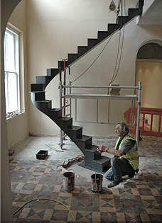 feature staircases specially handcrafted in steel and